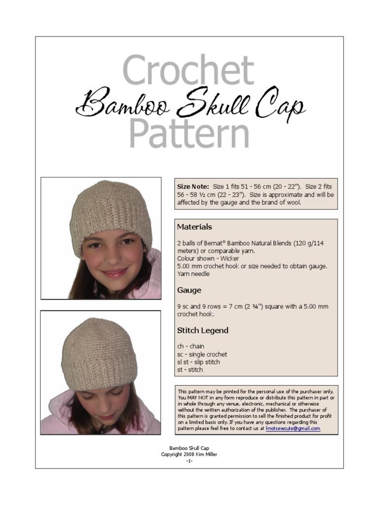 Bamboo Skull Cap | Crochet | Gauge (Knitting)