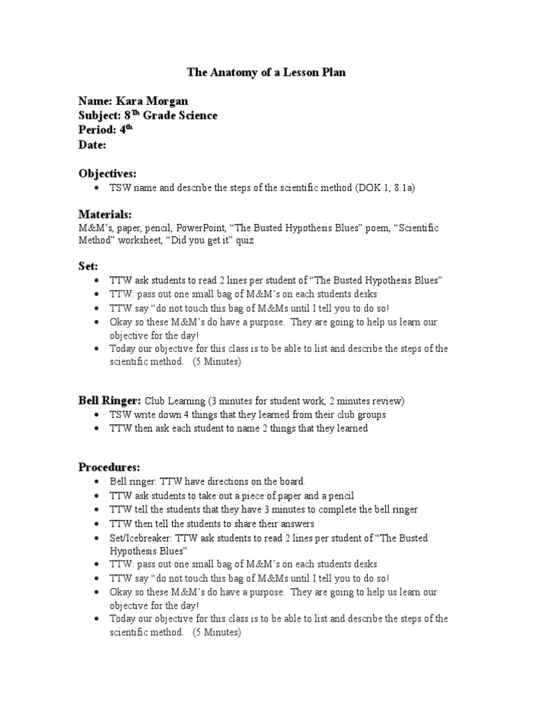 Final Lesson Plan 24  PDF  Experiment  Scientific Method With Scientific Method Worksheet 4th Grade