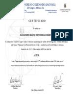 Certificado Congreso Anatomia Poster3 Alexandre Marinho
