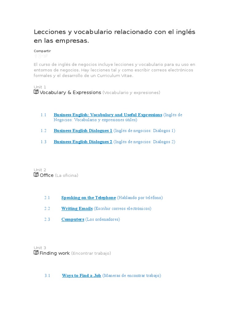 Inglés Relacionado Y Empresas En El Las Lecciones Vocabulario Con EDH9WIY2