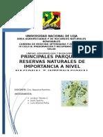 Principales Parques y Reservas Naturales de Importancia a Nivel Nacional (Ecuador) e Internacional