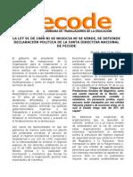 Declaracion Politica de Fecode Para Reproducir en Asambleas