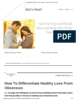 How to Differentiate Healthy Love From Obsession - How to Win a Man's Heart