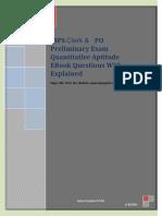 IBPS Clerk & PO Preliminary Exam Quantitative Attitude eBook Questions With Explained