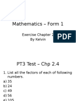 Math Exercise Chapter 2 Form 1 (continue) By Kelvin