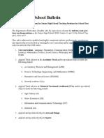 Senior High School Bulletin on Teacher Hiring
