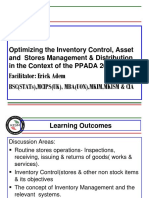 Inventory Control,Asset and Store Management and Distibution - Erick