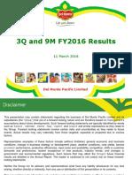 Del Monte Pacific 3 Quarter 2016 Result Presentation Final