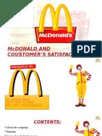 Presentation on  customer satisfaction towards Mc'D.