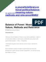 Balance of Power IR