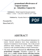 A Study on Promotional Effectiveness of Gujarat Tourism
