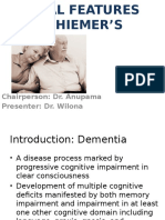 Aetiology & Clinical Features of Alzheimers disease