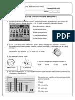 I Bimestre Matématica 3º ano/2016