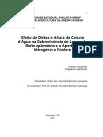 Efeito de Dietas e Altura Da Coluna d Agua Na Sobrevivência de Larvas de Betta Splendens e o Aporte de Nitrogênio e Fosforo
