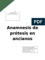 Anamnesis de Prótesis en Ancianos