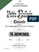 Akimenko Petite Ballade Cl Pno