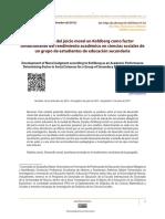 El desarrollo del juicio moral en Kohlberg como factor condicionante del rendimiento académico en ciencias sociales de un grupo de estudiantes de educación secundaria