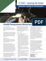 CSattAR Photogrammetric Monitoring