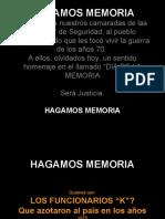 HAGAMOS MEMORIA