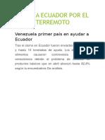 Ayuda a Ecuador Por El Terremoto