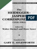 Correspondencias entre Heidegger e Jaspers. (Inglês) - MH