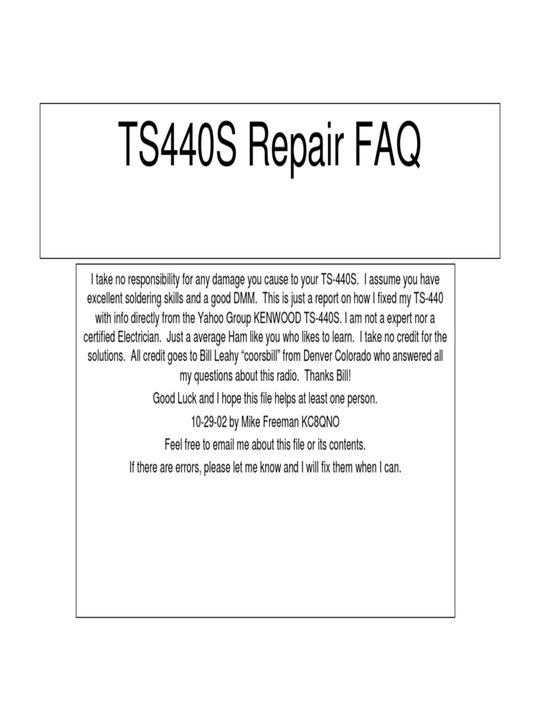 ts440s repair faq inductor electrical engineering