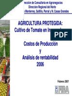 Agricultura Protegida Cultivo de Tomate en Invernadero - Costos de Producción y Análisis de Rentabilidad 2006 - Feb 2007