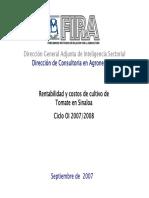 Rentabilidad y Costos de Cultivo de Tomate en Sinaloa Ciclo OI 2007-2008