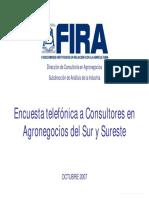 Encuesta Telefonica a Consultores en Agronegocios Del Sur y Sureste