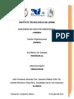 Informe Unidad 4 (Diseño Organizacional)