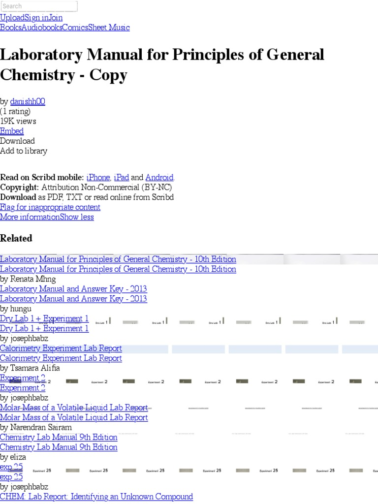 Laboratory Manual for Priprinciples of chem nciples of General Chemistry -  Copy | Physical Sciences | Science