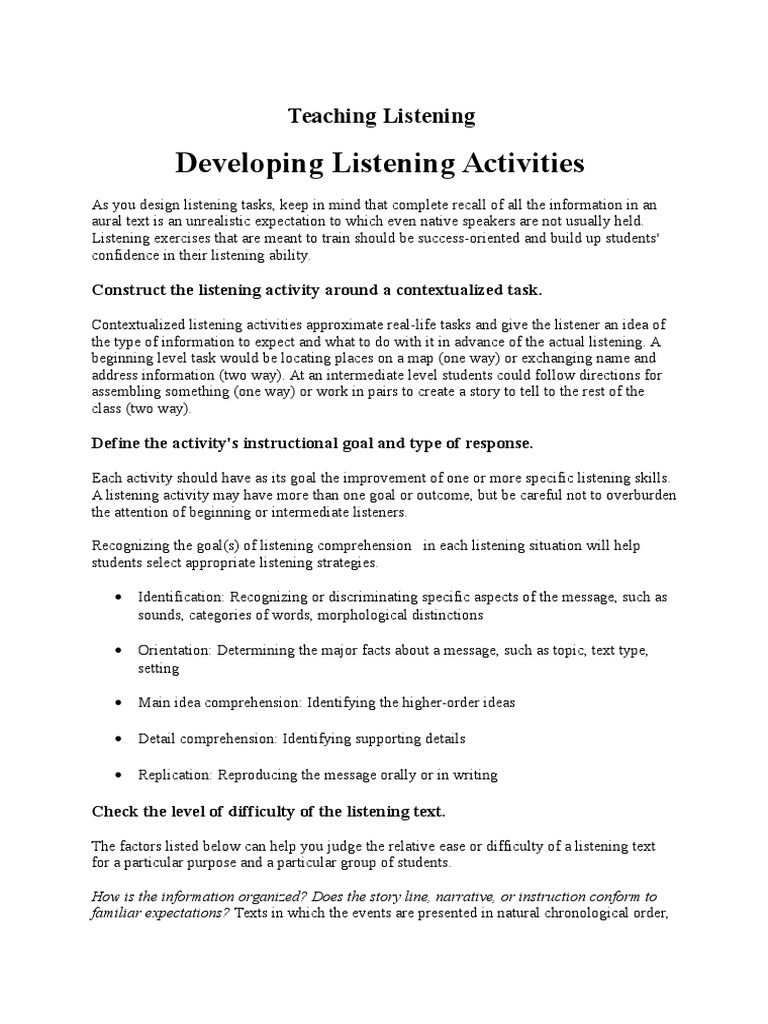 Teaching Listening   Reading Comprehension   Teachers