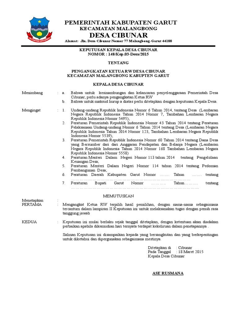 Sk Pengangakatan Ketua Rtrw
