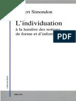 Simondon 2005 Lindividuation a La Lumiere Des Notions de Forme Et Dindividuation Book