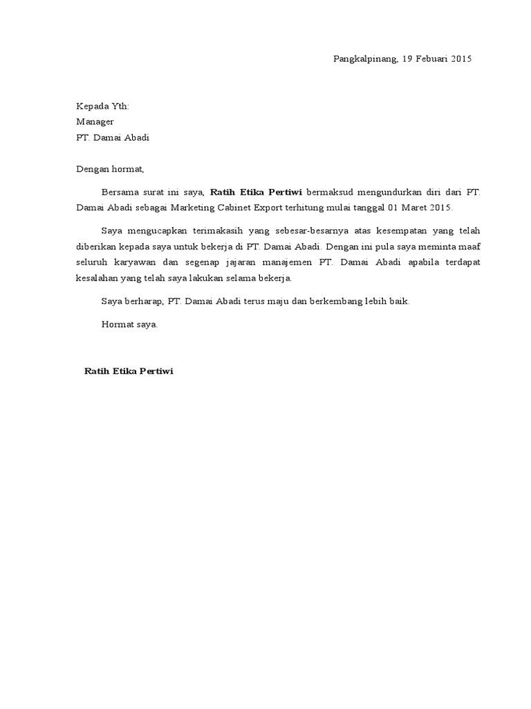 Contoh Surat Resign Kerja Di Pabrik