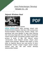 Sejarah Wireless Perkembangan Teknologi Nirkabel 1G 4G
