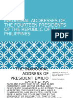 Inaugural Addresses of the Fourteen Presidents of the Philippines