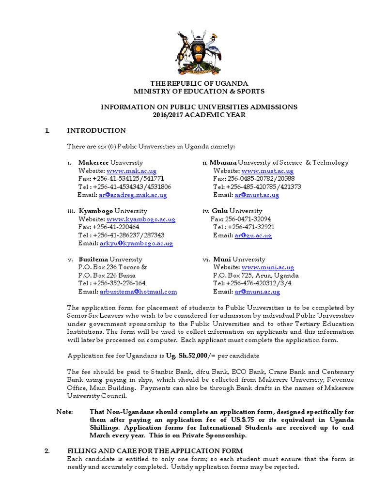 makerere university application guidelines and and cut off points rh es scribd com Makerere University College of Medicine Gulu University