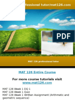 MAT 126 Professional Tutor