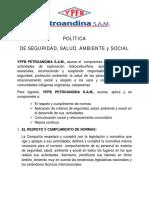 E. Política de Seguridad, Salud, Ambiente y Social YPFB PETROANDINA SAM