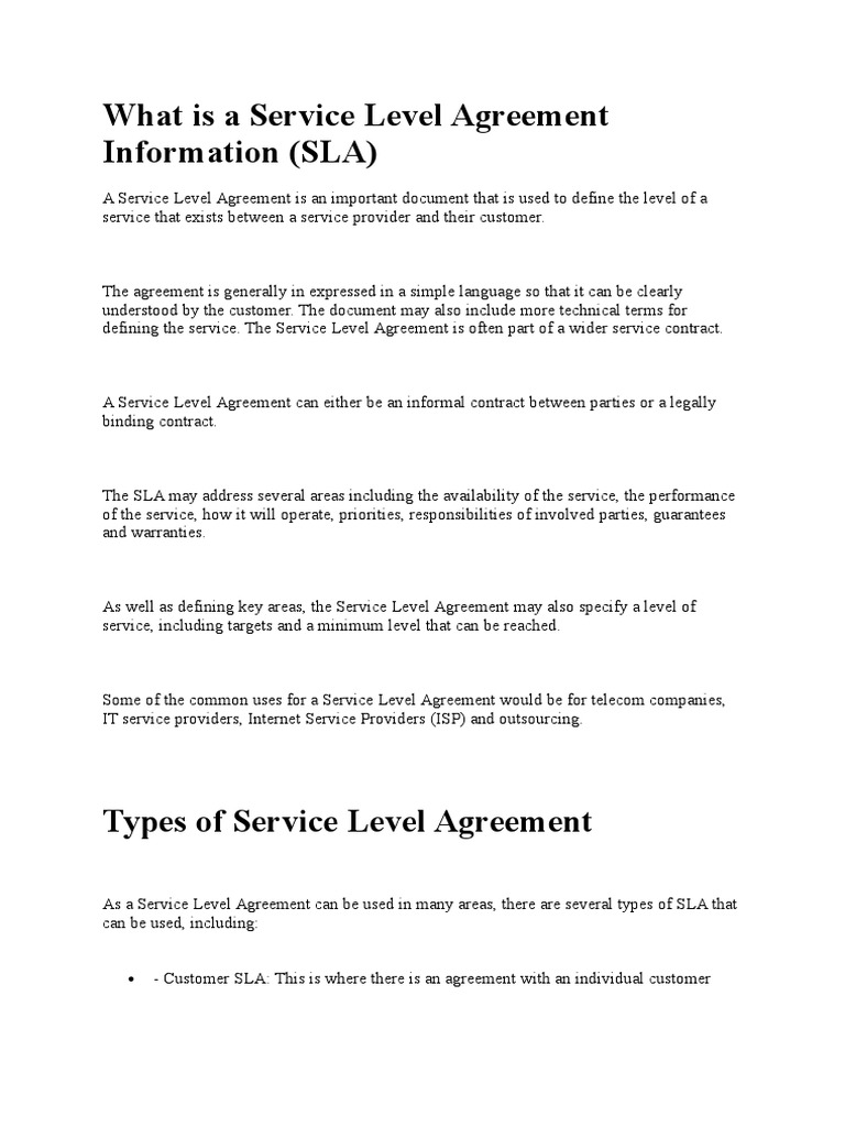 What Is A Service Level Agreement Information Service Level