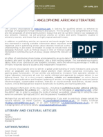 CFP - Anglophone African Literature and Culture