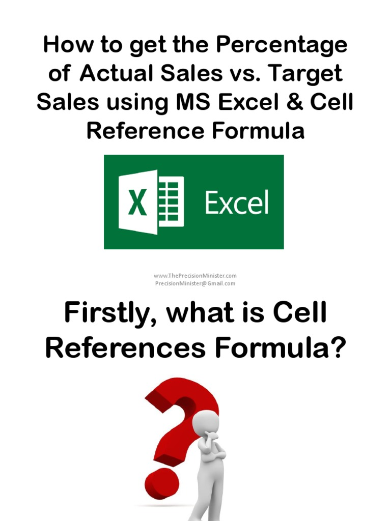 How To Get The Percentage Of Actual Sales Vs Target Sales Using Ms Excel &  Cell Reference Formula_sofia B_precision Minister  Spreadsheet  Microsoft