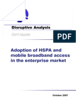 Disruptive Analysis_Adoption of HSPA and Mobile Broadband Access in the Enterprise Market