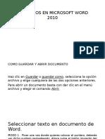 Comandos en Microsoft Word 2010