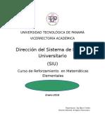 Curso de Reforzamiento en Matemáticas Elementales -2016