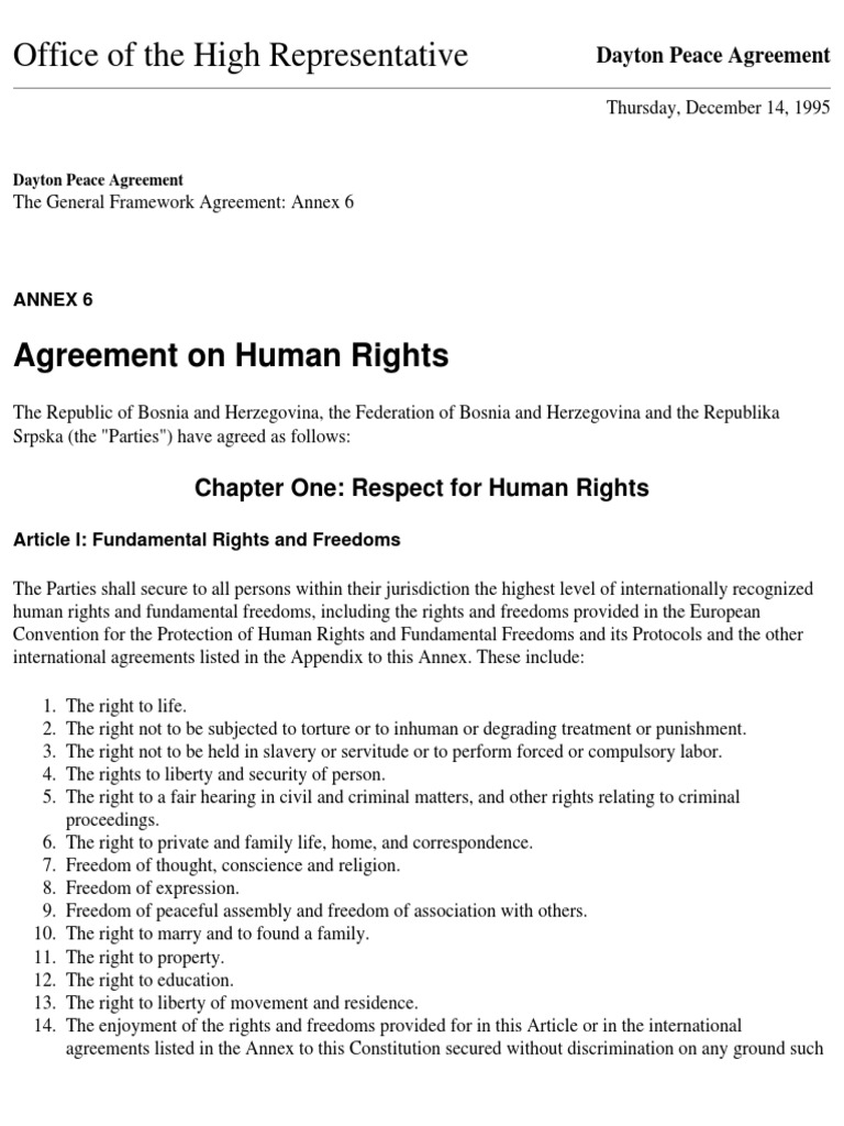 Dayton Peace Agreement European Convention On Human Rights Human