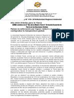 NOTA DE PRENSA N° 019 ARMA DESTACA FIRMA DEL ACUERDO DE PARÍS EN LAS NACIONES UNIDAS EN EL DÍA DE LA MADRE TIERRA 2016 ÁRBOLES PARA LA TIERRA