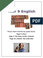 Lydia Davis - 3 Short Stories Front Sheet