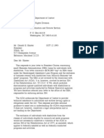 US Department of Justice Civil Rights Division - Letter - tal395